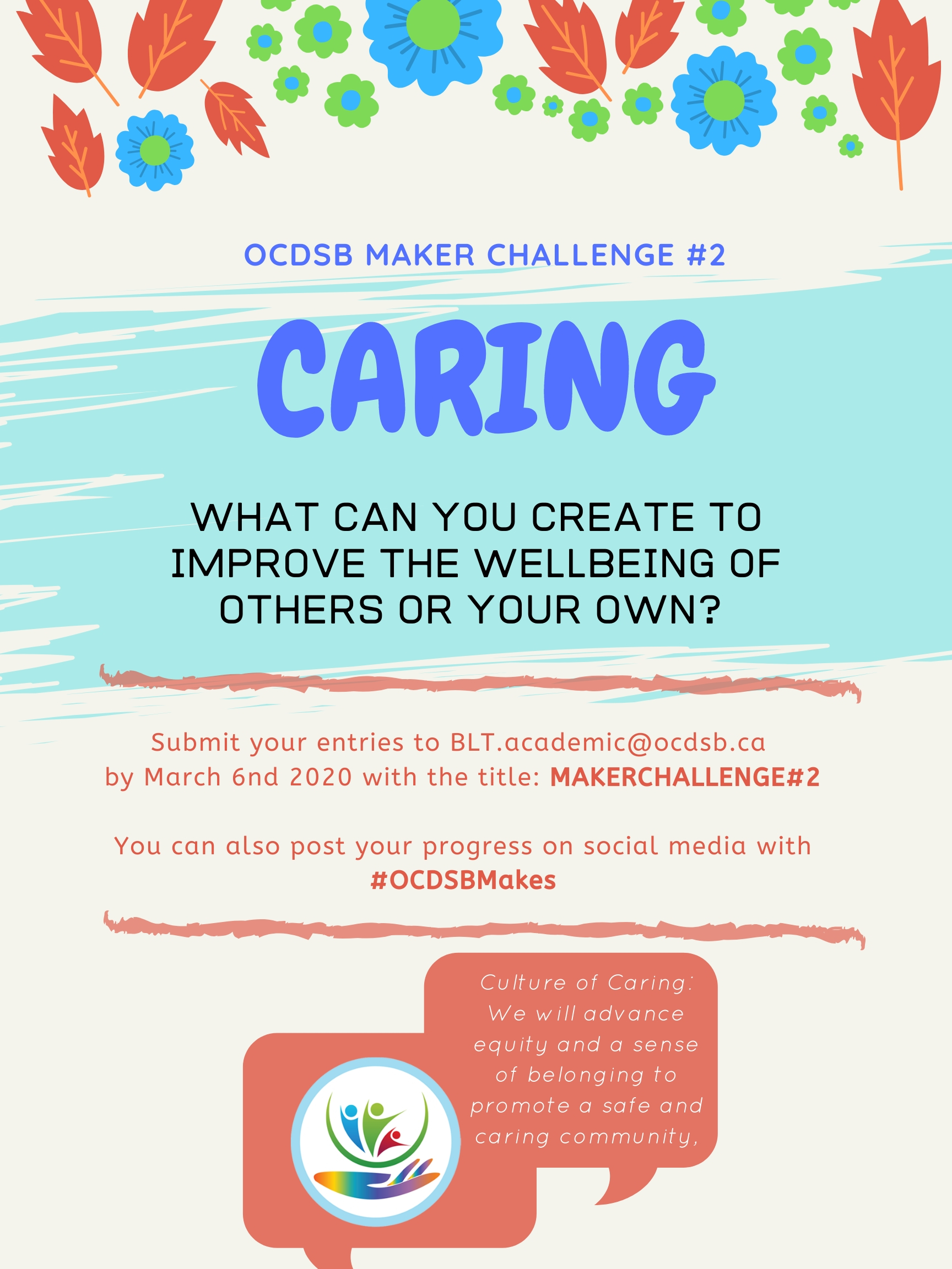 Poster inviting students to participate in a design challenge around caring.