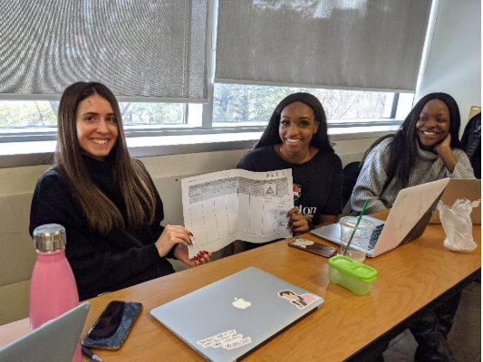Three university students hold the planning template.