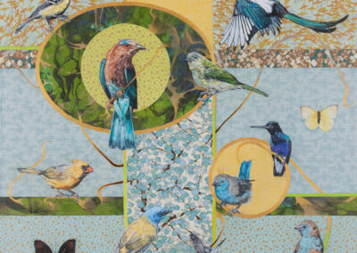 birds, butterfly, flower-pattern, japanese-paer, oil, mixed-media, painting-for-sale