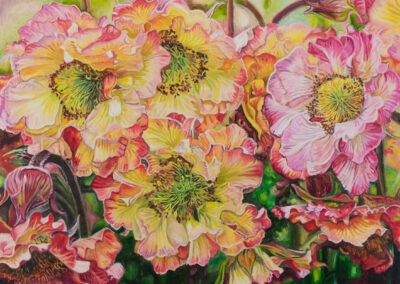 flowers, painting, pink, yellow, green, red, geums