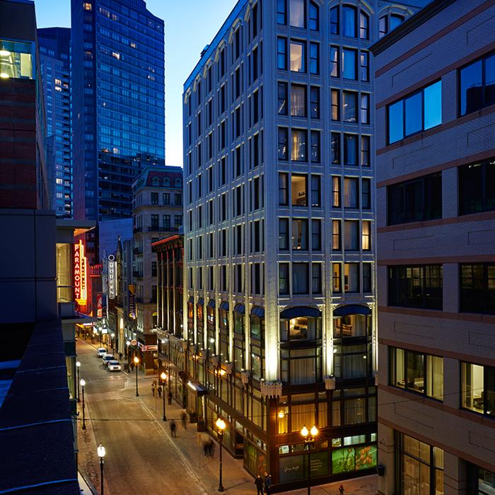 Godfrey Hotel Boston exterior at night