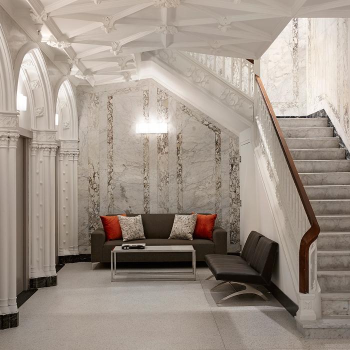 Godfrey Hotel Boston lobby and grand staircase