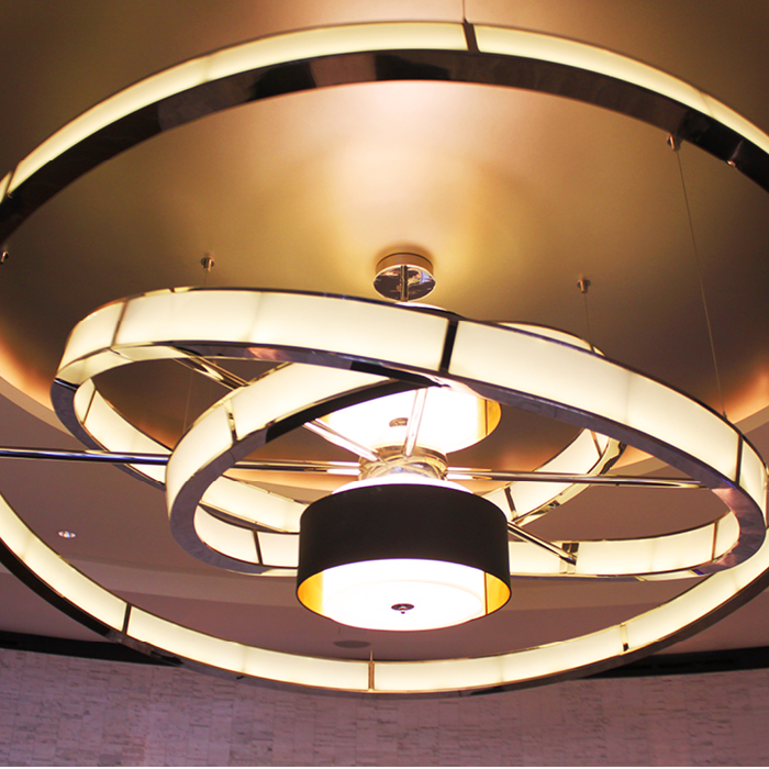 Intricate ringed light fixture