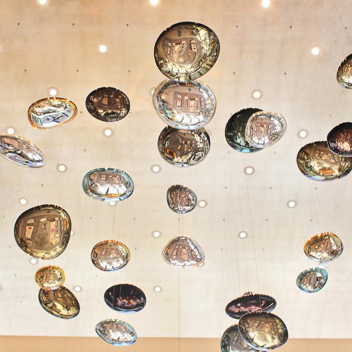 Langham Chicago modern artwork suspended from ceiling