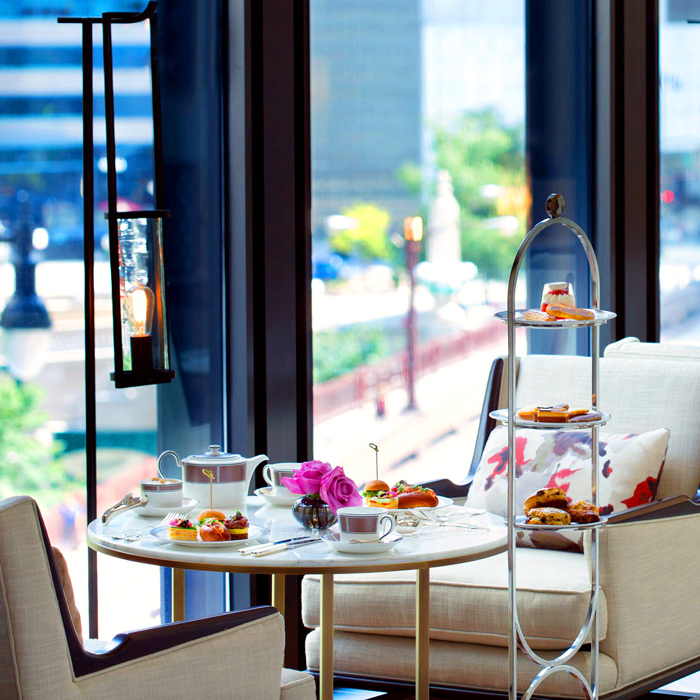 Langham Chicago table set for tea