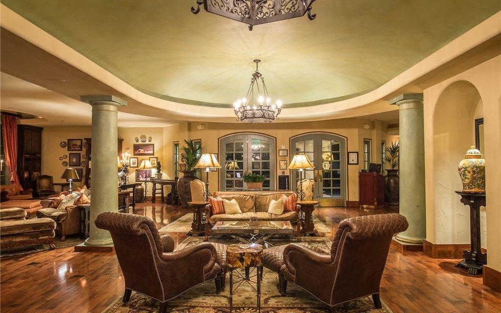 Ornately furnished lobby seating area