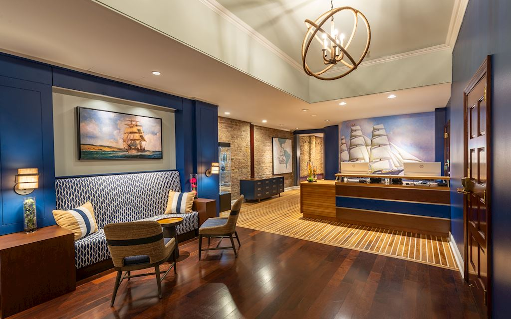 Lobby front desk with a nautical theme