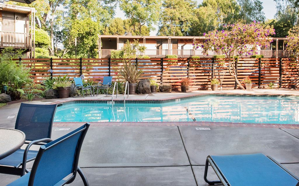 Outdoor pool surrounded by gardens and lawn chairs