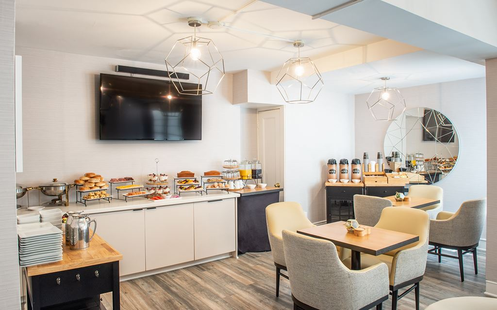 Continental breakfast bar with seating
