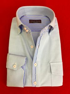 Custom Made Shirt with striped borders.