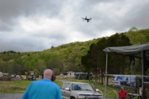 Kevin T. Mabie, owner of Lost River Shoot, flying a drone over the ranch. Photo Credit: Lost River Shoot/Rita Berger