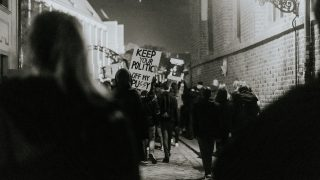 protest in black and white