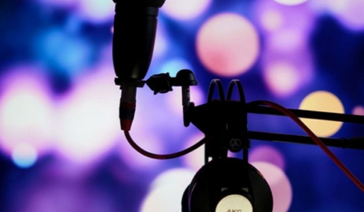 microphone with background lights
