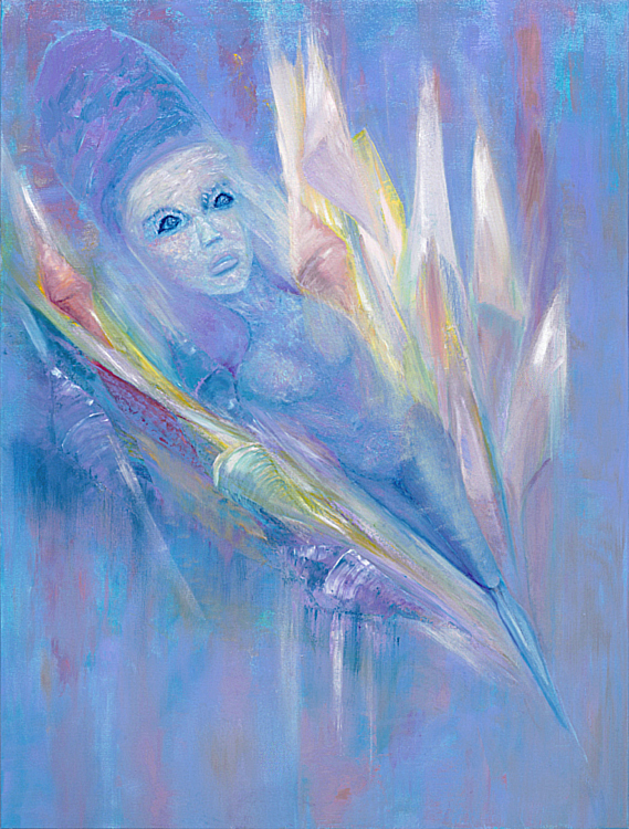 "Soul of Crystal 30x40 oil on canvas $2000. One night in our channeling class, many of us ""saw"" and     ""sensed"" this magical being flying around the crystal store where we held our channeling classes for many years. She stopped by long enough for me to get a glimpse and make her portrait."