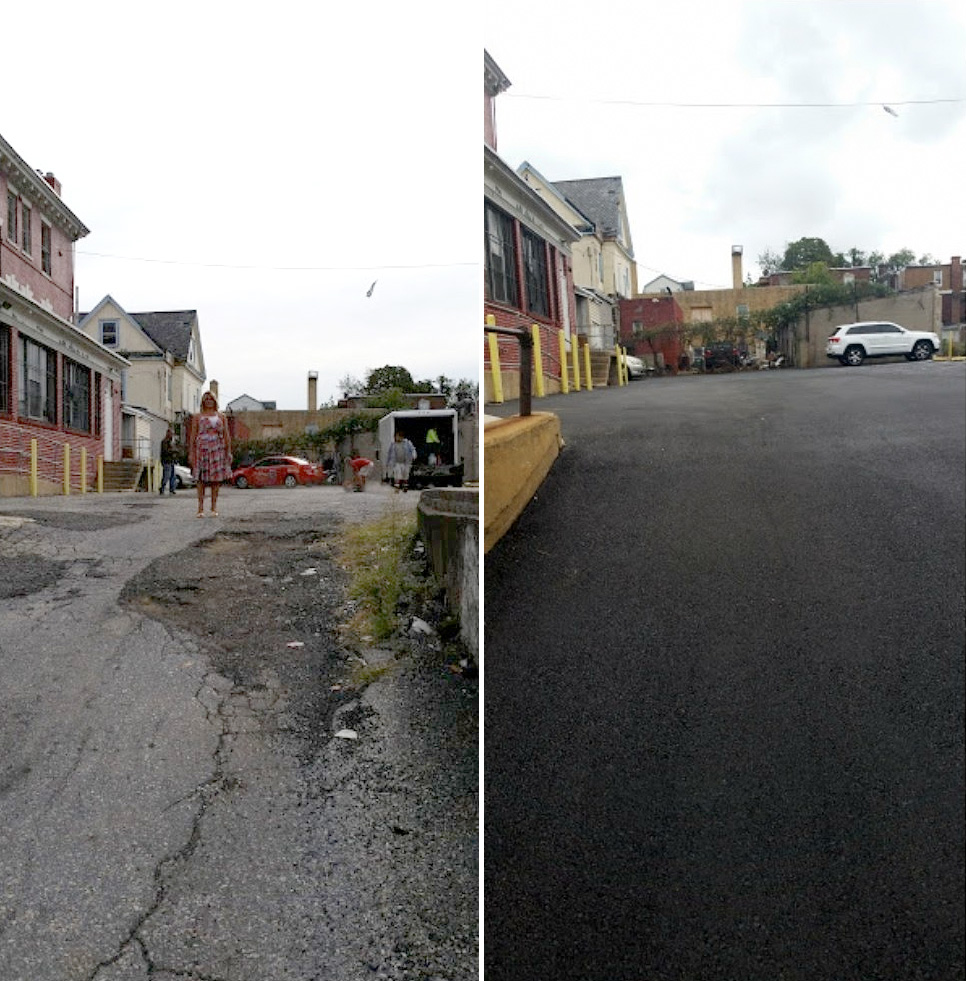 Before and after: New install of asphalt parking lot