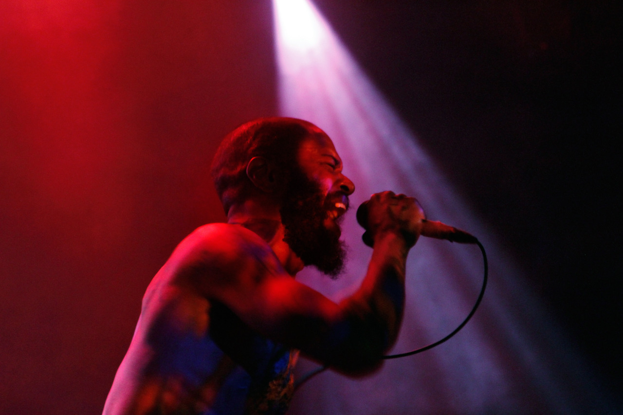 Death Grips performs at NPR Music's showcase at (le) Poisson Rouge during the CMJ Music Marathon in New York, NY on Oct. 17, 2012.