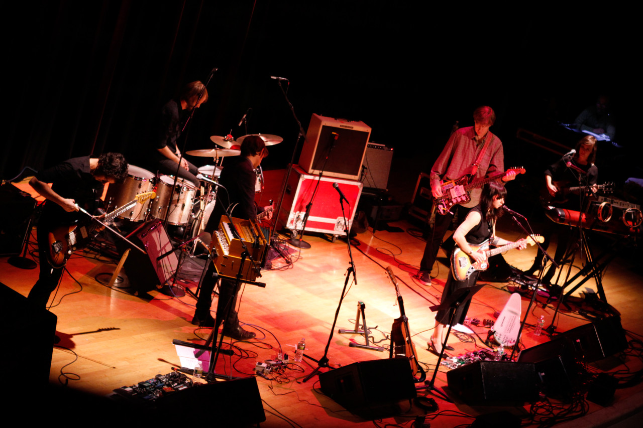 Sharon Van Etten plays with Aaron Dessner, Thurston Moore and band at Town Hall in New York, NY on Nov. 15, 2012.