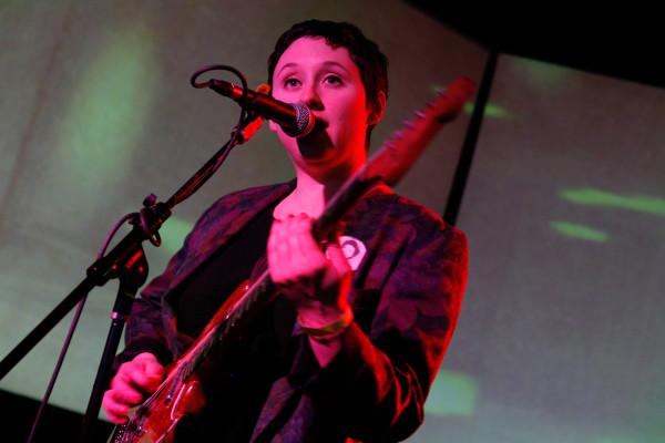 Swearin' plays at Brooklyn Night Bazaar in Williamsburg, Brooklyn NY on December 12, 2014.