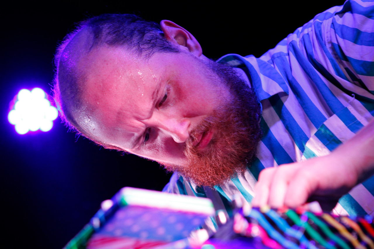 Dan Deacon plays at Rough Trade in Williamsburg, Brooklyn, NY on Feb. 25, 2015.