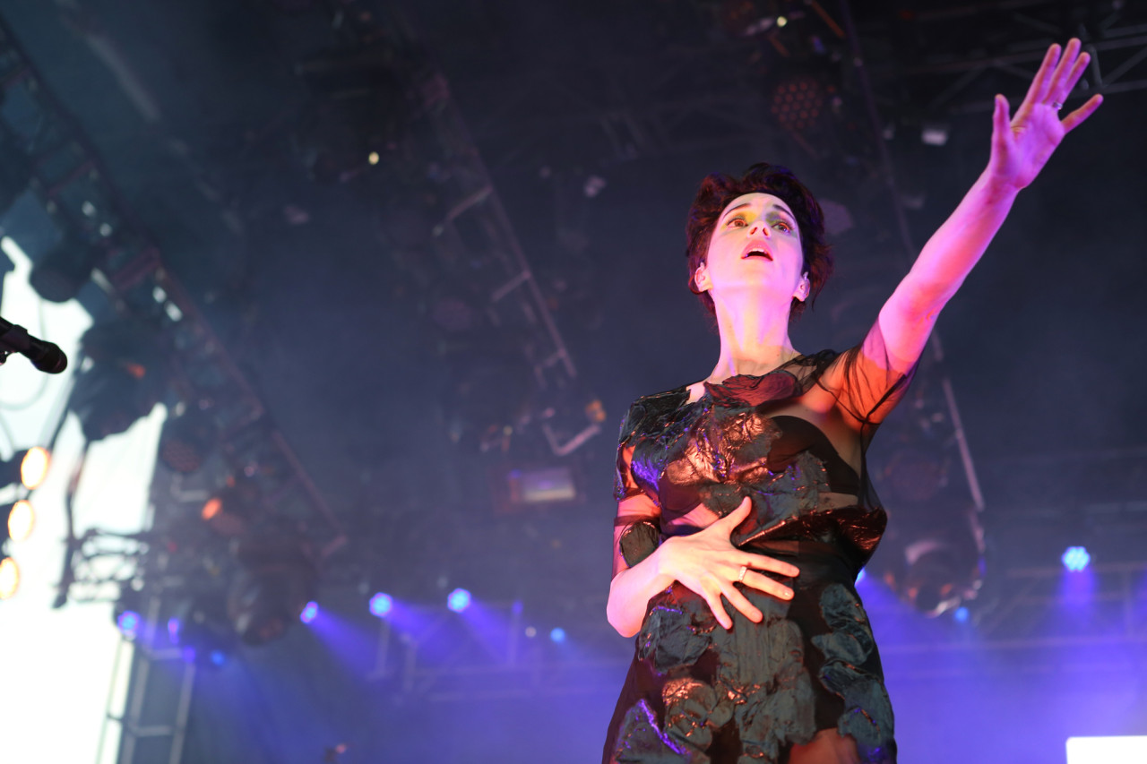 St. Vincent's Annie Clark performs on the Big Apple Stage at Governors Ball on Randall's Island, New York, on June 5, 2015. (© Michael Katzif – Do not use or republish without prior consent.)