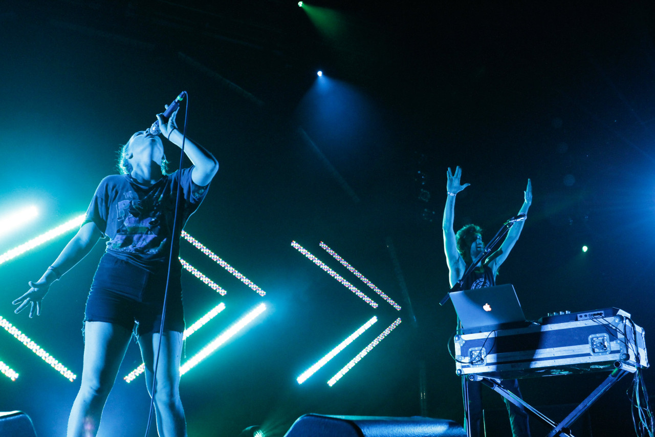 Sylvan Esso performs at Celebrate Brooklyn at Prospect Park in Brooklyn, NY on July 25, 2015. (© Michael Katzif – Do not use or republish without prior consent.)