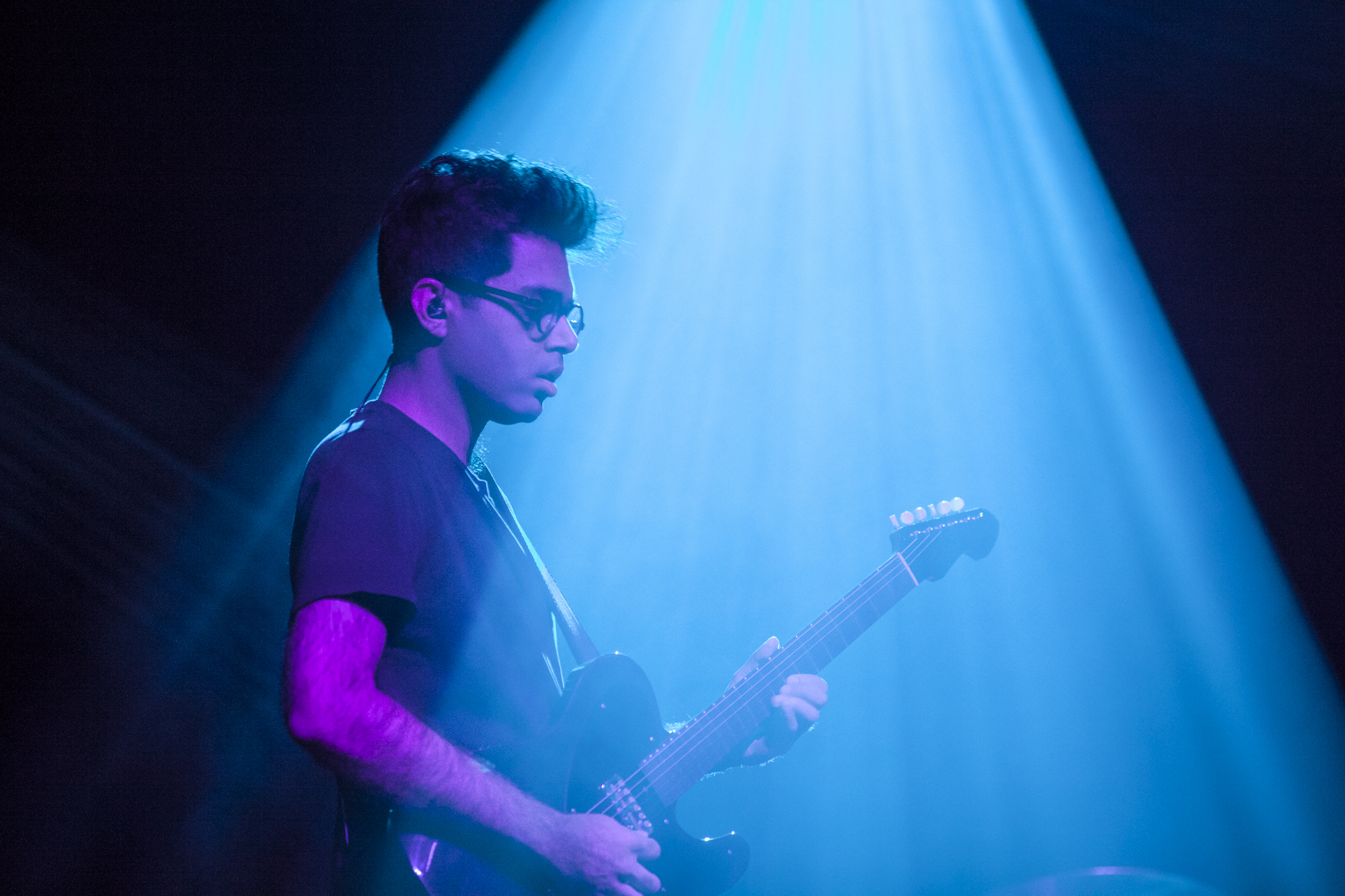 Rafiq Bhatia of Son Lux plays at Brooklyn Steel in Williamsburg, Brooklyn, New York on March 22, 2018. (© Michael Katzif - Do not use or republish without prior consent.)