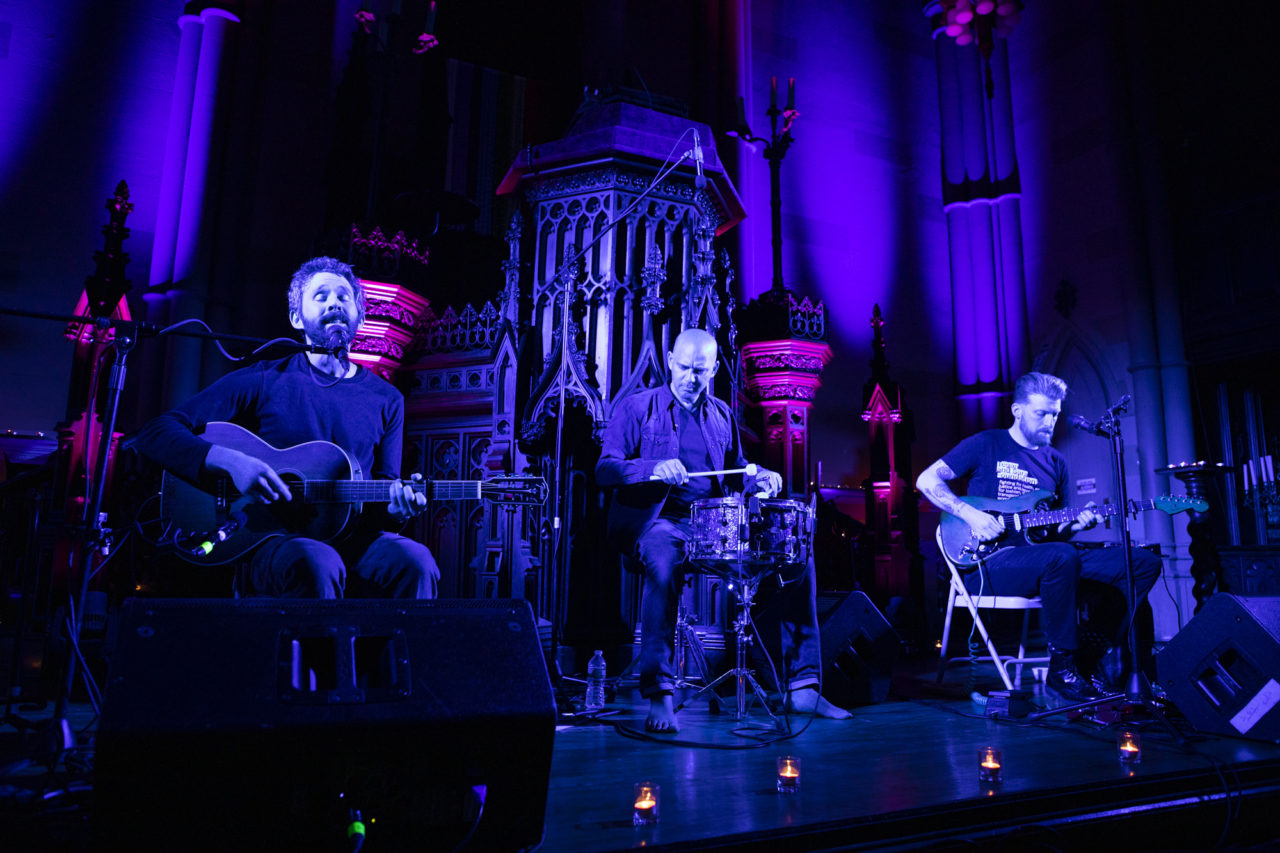 The Antlers celebrate the 10th anniversary of its album 'Hospice' at the First Unitarian Congressional Society church in Brooklyn, New York on March 30, 2019. (© Michael Katzif - Do not use or republish without prior consent.)