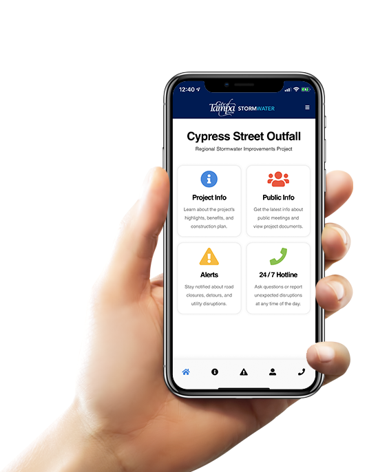 Hand holding an iPhone with the Cypress Street Outfall mobile app displayed on the screen.