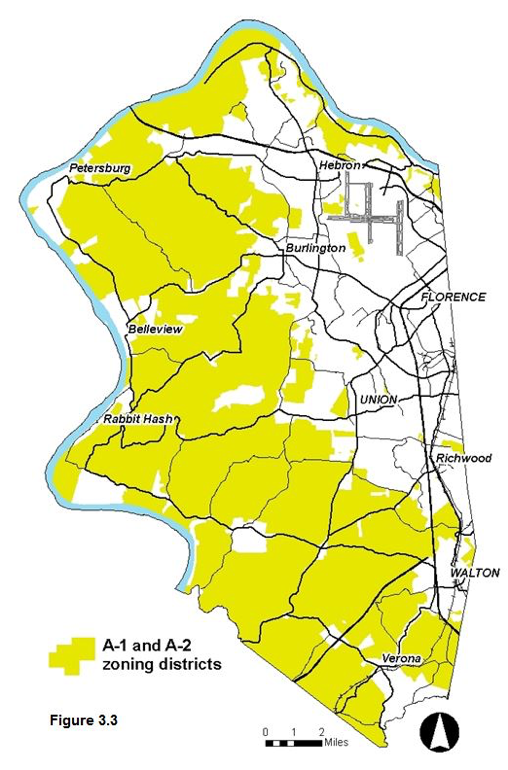 Figure 3.3 - A-1 and A-2 zoning districts, primarily covering the western majority of Boone County. The areas to the northeast contain far less than western and southern parts of the county.