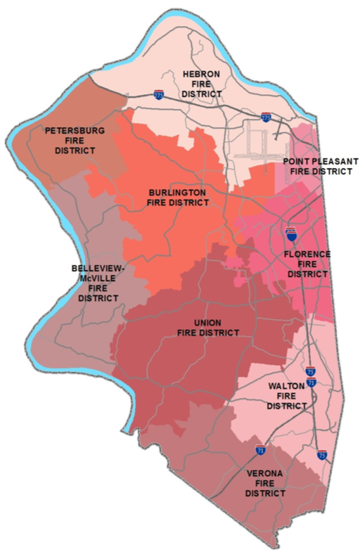 Map of Boone County showing fire districts. From north to south and west to east: Hebron Fire District, Petersburg Fire District, Burlington Fire District, Point Pleasant Fire District, Belleview-McVille Fire District, Florence Fire District, Union Fire District, Walton Fire District, Verona Fire District.