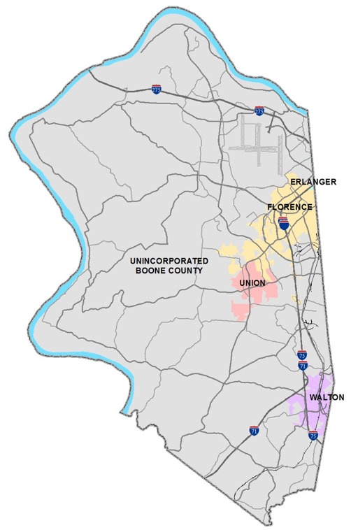 Map of Boone County showing incorporated areas. The majority of Boone County is unincorporated, especially the western, northern and southern quarters of the county. Erlanger, Florence, Union, and Walton are indicated as incorporated areas, all appear in the eastern middle quarter of the map.