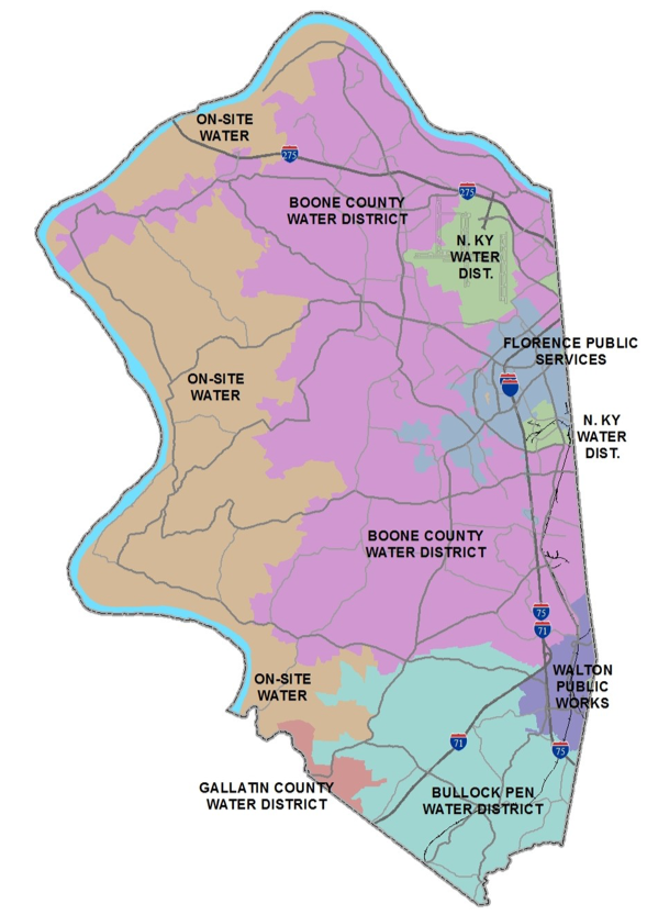 Map of Boone County showing different water districts, from north to south and east to west: on-site water, Boone County Water District, N. Ky Water District, On-Site Water, Florence Public Services, N. Ky Water District, Boone County Water District, On-site water Walton Public Works, Bullock Pen Water District, Gallatin County Water District.