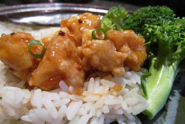 general tso's chicken, with orange zest