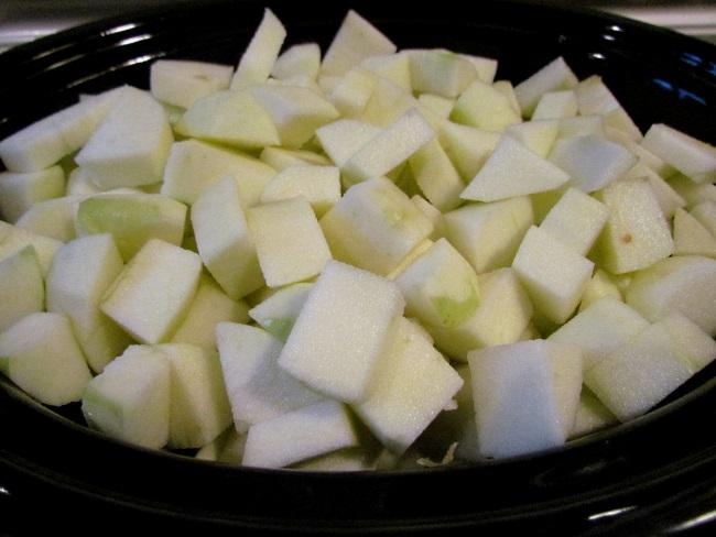 cubed apples slow cooker crockpot apple butter