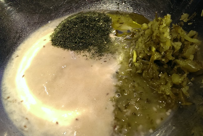 Yeast and ingredients for dill pickle bread