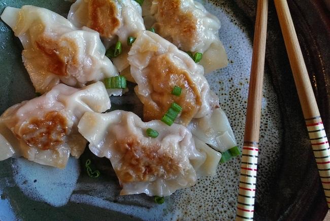 Potstickers pork pan fried dumplings chinese