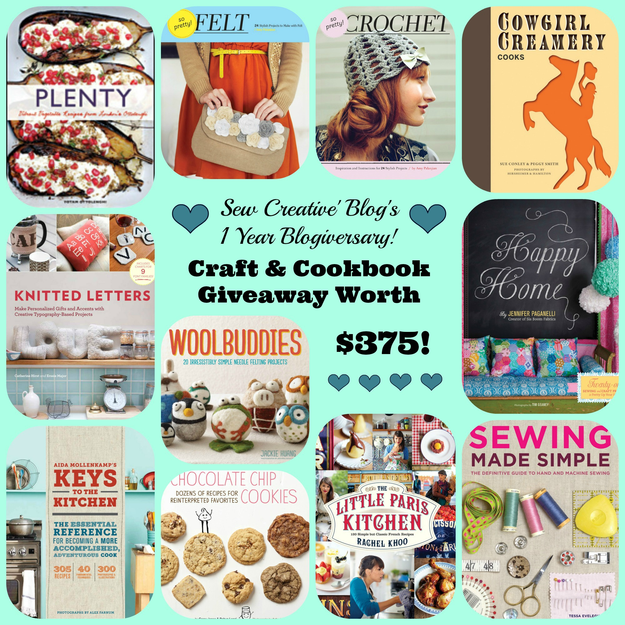 Sew-Creative-Blogs-1-Year-Blogiversary-Craft-Cookbook-Giveaway-Worth-375