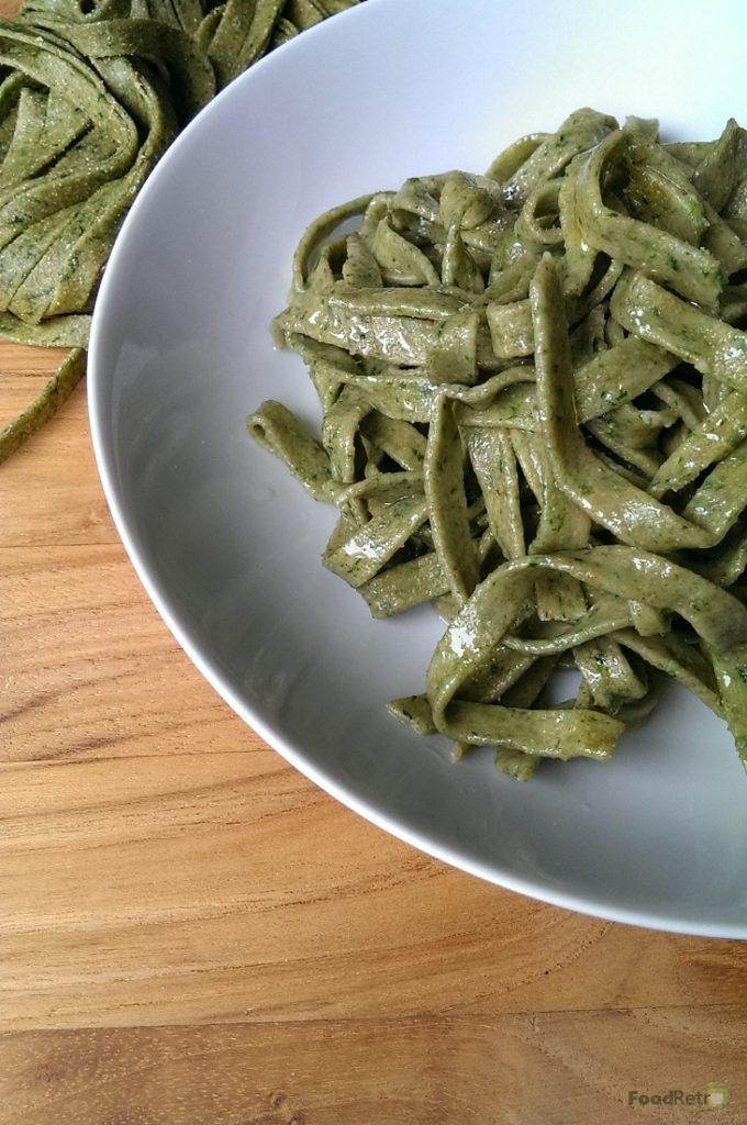 This delicate fresh spinach pasta is made with low-gluten spelt flour, and whips together in your food processor for speed and ease. Excellent, either by itself with garlic and oil, or topped with roasted chicken. | FoodRetro.com
