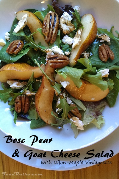 Bosc Pear & Goat Cheese Salad with Dijon Maple Viniagrette