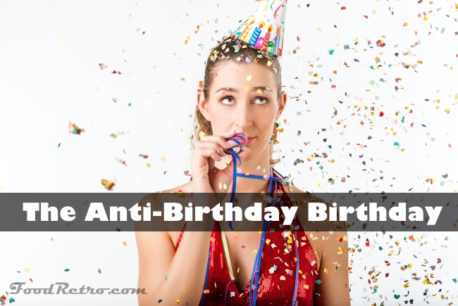 Woman fining birthday party boring with streamer being less than excited