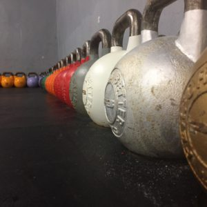 Close up of kettle bells