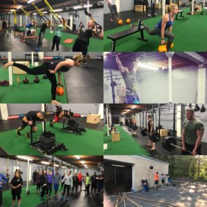 Collage of people working out at spark fitness