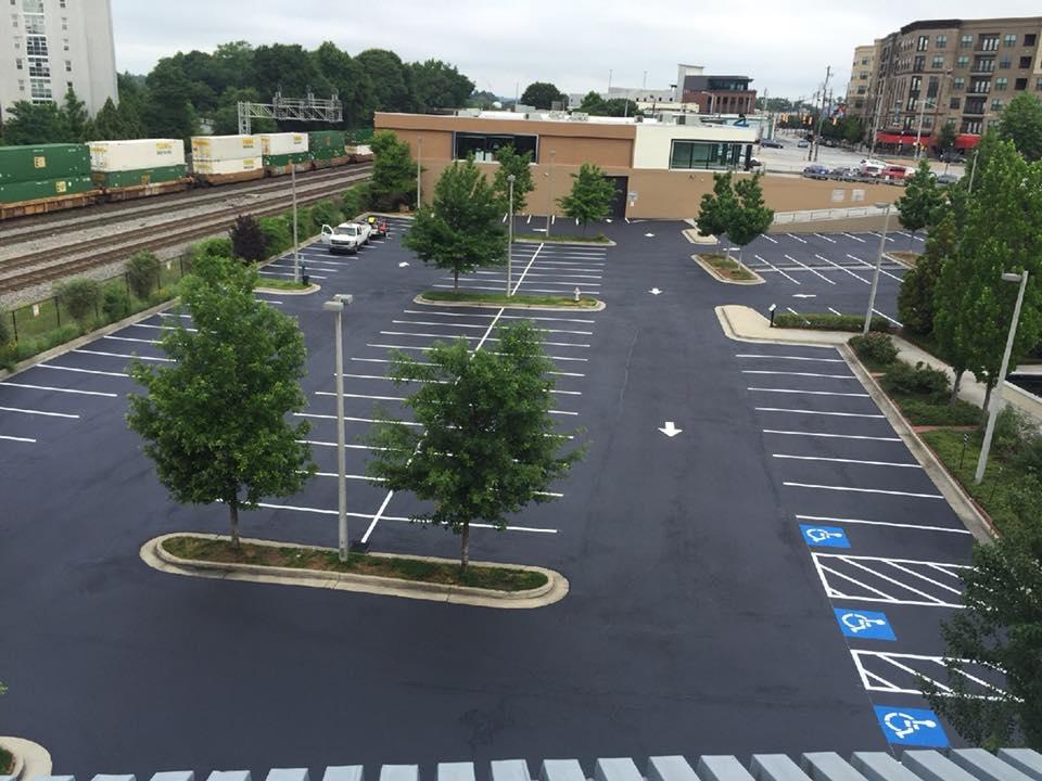 aerial parking lot after seal coating