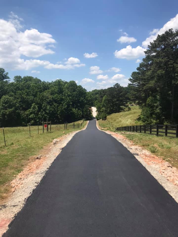 long freshly paved road