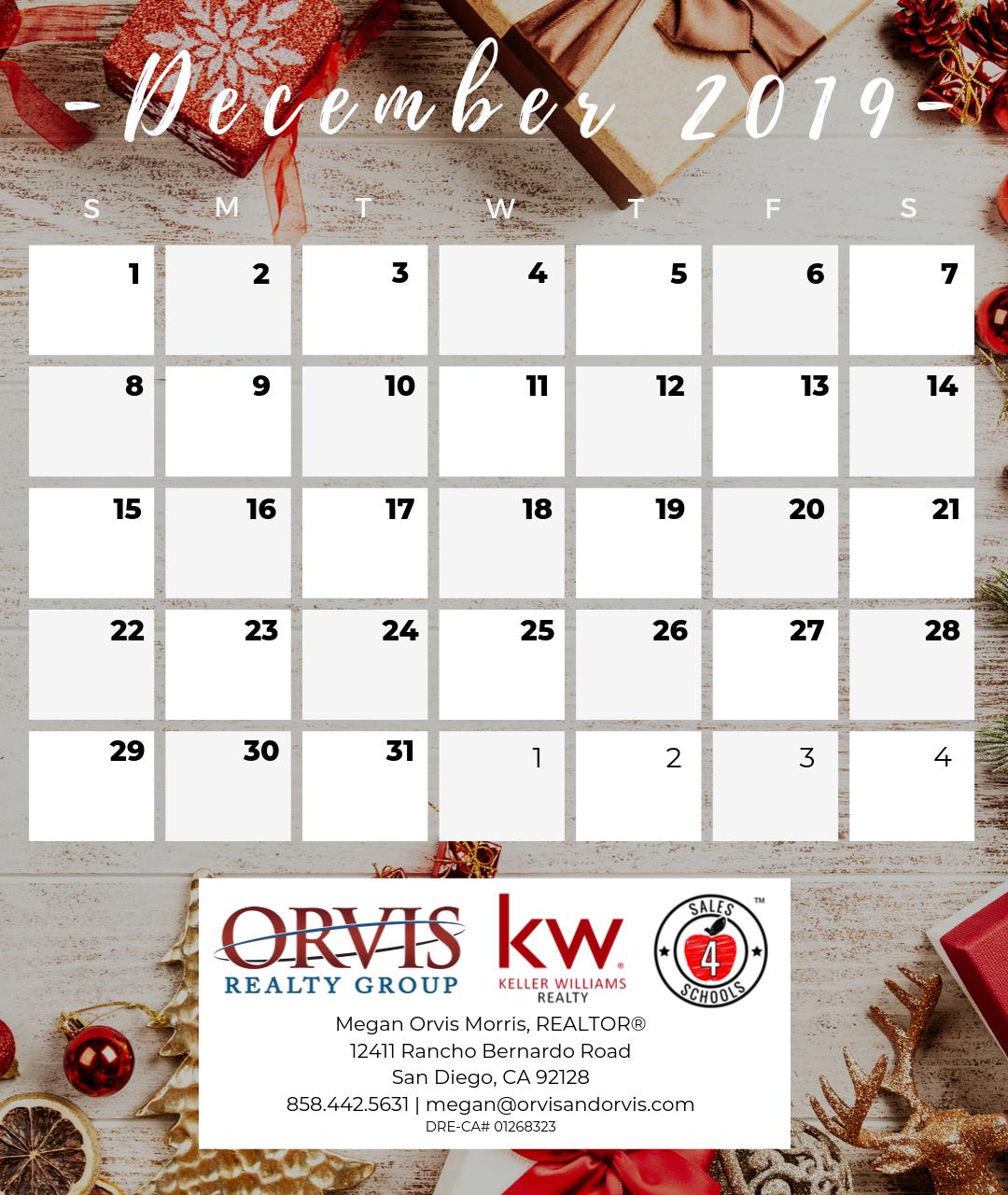 December 2019 month Calendar