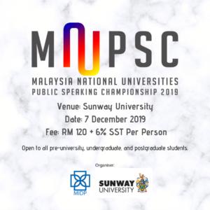 Malaysia National Universities Public Speaking Championship 2019