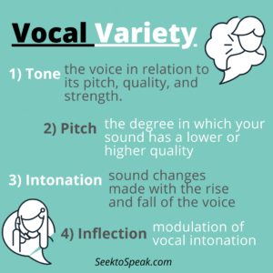vocal variety, tone, pitch, intonation, inflection