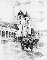 pencil sketch of mission and rider on horseback