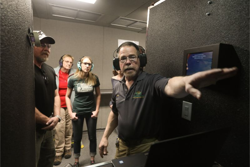 Shooting Range Instruction at Timberline Firearms by employee to guests.