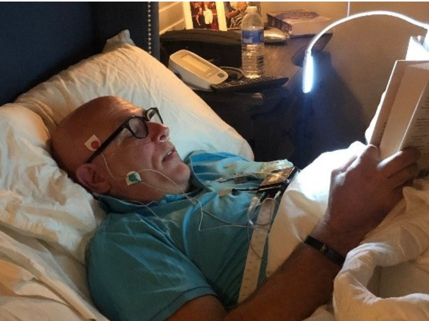 Randy Clare haveing a home sleep study with a Nox T3 home sleep teating device